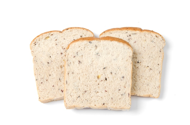 Fatia de pão isolada no branco Foto Premium