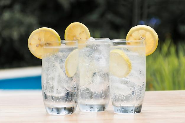 Fatias de frutas em copos com bebida e gelo Foto gratuita