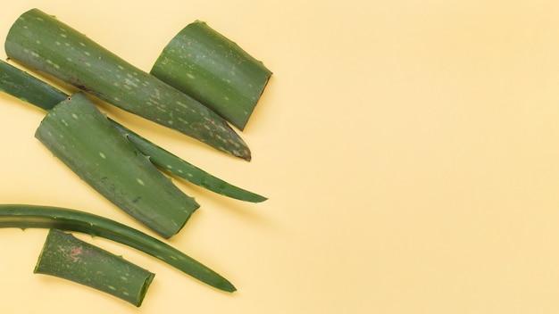 Fatias frescas verdes de aloe vera em fundo amarelo Foto gratuita