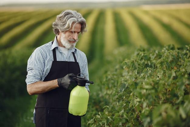 Fazendeiro pulverizando vegetais no jardim com herbicidas. homem de avental preto. Foto gratuita