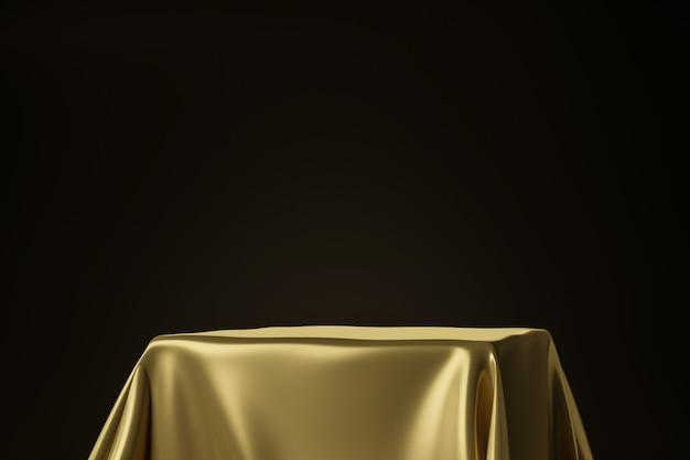Feche acima da tela luxuosa dourada colocada no suporte superior ou na prateleira vazia do pódio na parede preta com conceito luxuoso. renderização em 3d. Foto Premium