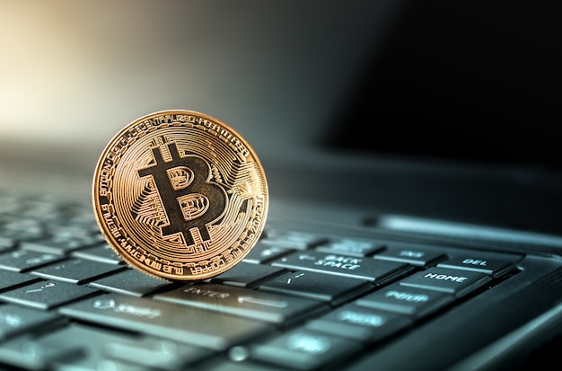 Feche acima do conceito crypto do fundo da moeda da moeda dourada do bitcoin. Foto Premium