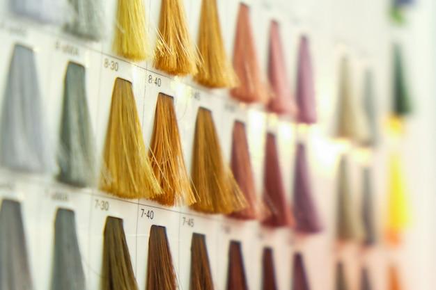 Feche as amostras de cores de cabelo Foto Premium