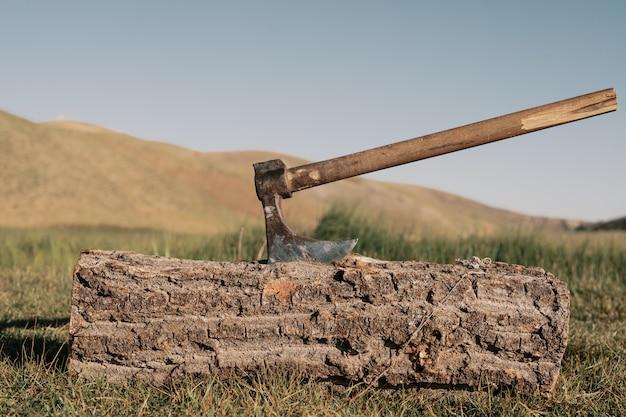 Feche o machado em um tronco na montanha Foto gratuita