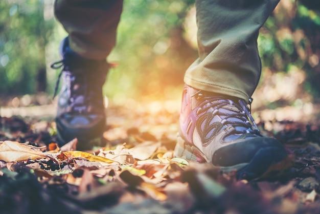 Feche os pés da mulher da aventura andando no caminho da montanha. Foto gratuita