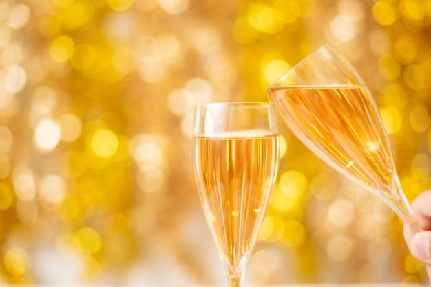 Feliz ano novo, ouro bokeh Foto Premium