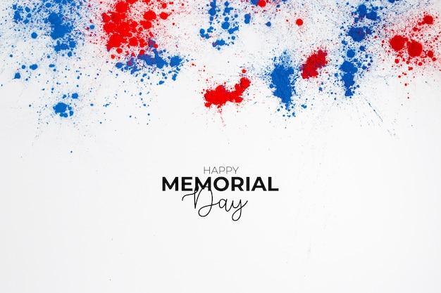 Feliz dia do memorial de fundo para comemorar o dia da independência com letras e salpicos de cor holi Foto gratuita