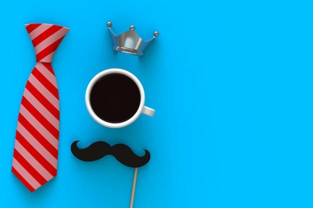 Feliz dia dos pais conceito com café, bigode e coroa em fundo azul Foto Premium