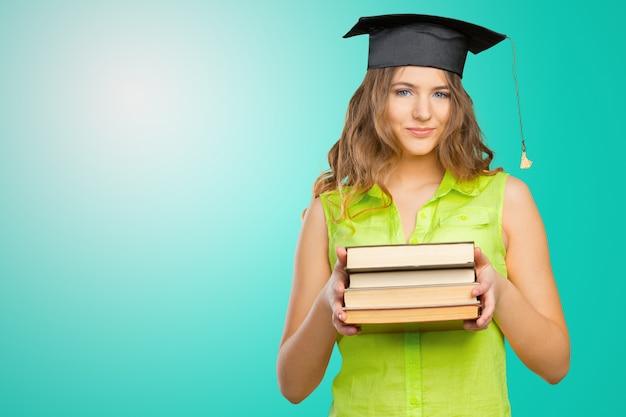 Feliz, estudante, em, boné graduação Foto Premium