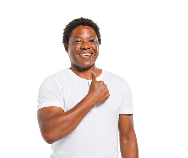 Feliz, homem africano, mostrando, polegares cima Foto gratuita
