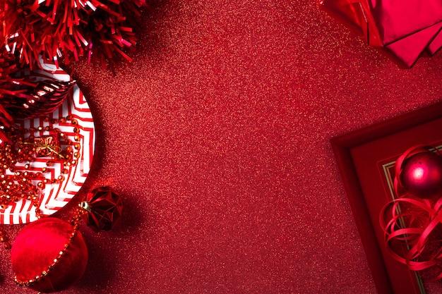Feliz natal e ano novo fundo vermelho Foto Premium