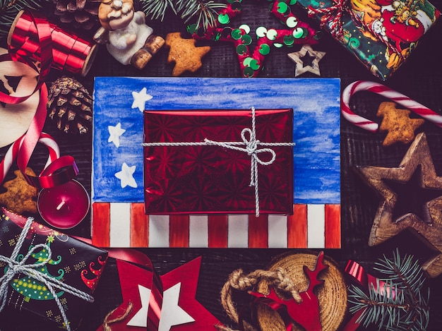 Feliz natal e feliz ano novo. lindo cartão Foto Premium