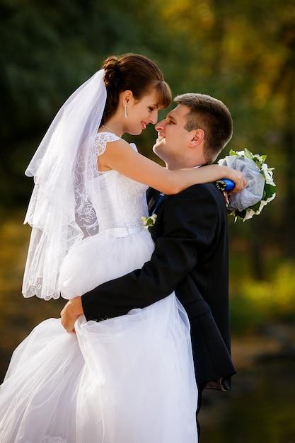Feliz, noiva noivo, ligado, seu, casório Foto Premium
