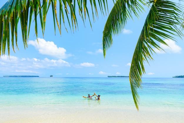 Feliz, par adulto, tendo divertimento, em, turquesa, água, caraíbas, mar, ligado, praia tropical Foto Premium