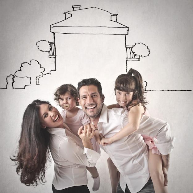 Feliz, rir, família Foto Premium