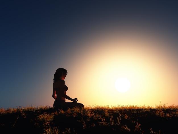Fêmea 3d em posição de ioga contra o céu do sol Foto gratuita