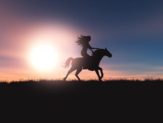 Fêmea 3d que monta seu cavalo em uma paisagem do por do sol Foto gratuita