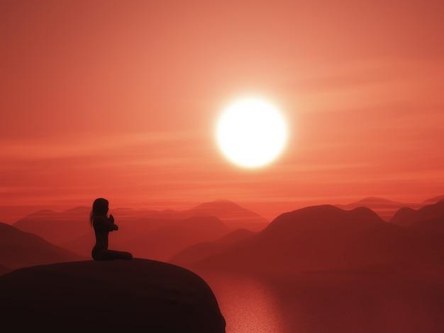 Fêmea em uma pose de ioga contra uma paisagem por do sol Foto gratuita