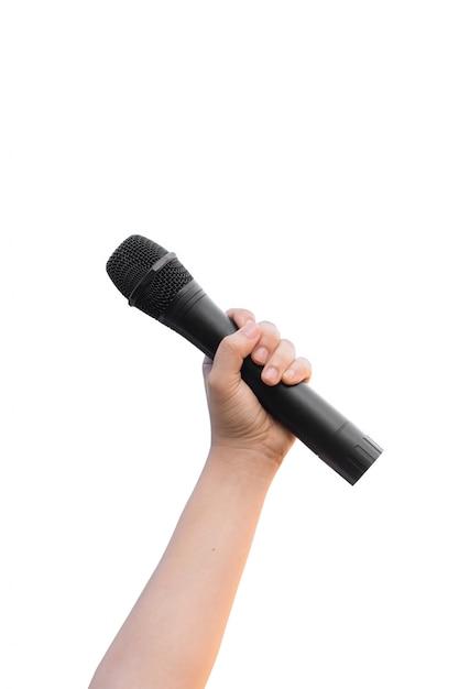 Feminino mão com microfone isolar em fundo branco Foto Premium
