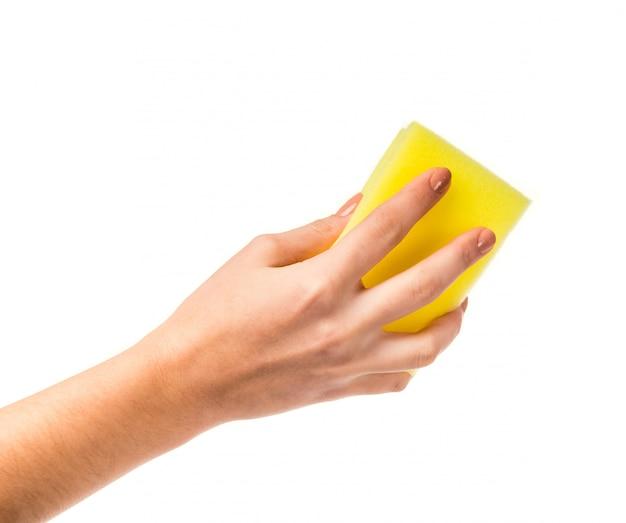 Feminino mão segurando uma toalha Foto Premium