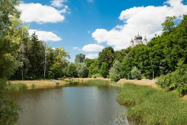 Feofania é o jardim mais novo de kiev. lagoa no dia ensolarado de verão Foto Premium