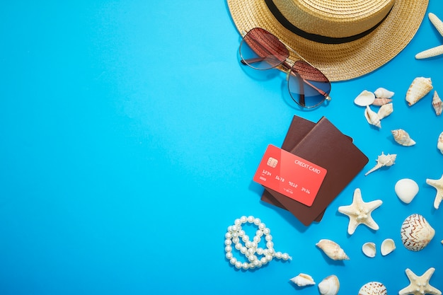 Férias de acessórios de verão Foto Premium