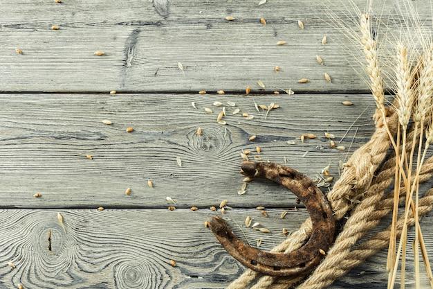 Ferradura velha e corda na placa de madeira Foto Premium