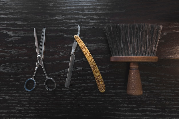 Ferramentas de barbeiro vintage Foto Premium