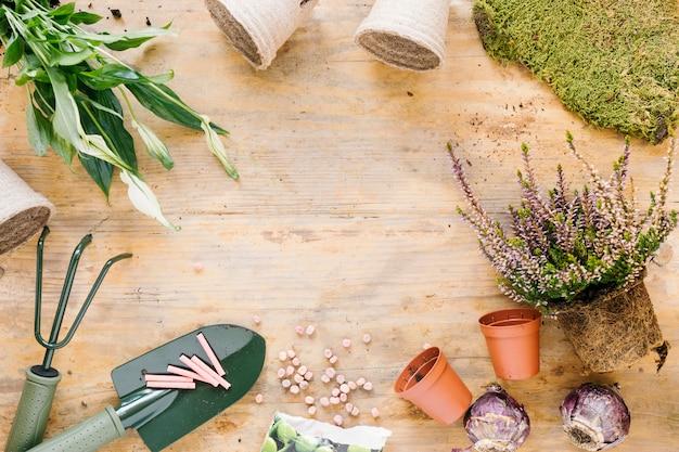 Ferramentas de jardinagem; vaso de planta; relva; cebola e sementes, organizando sobre prancha de madeira Foto gratuita