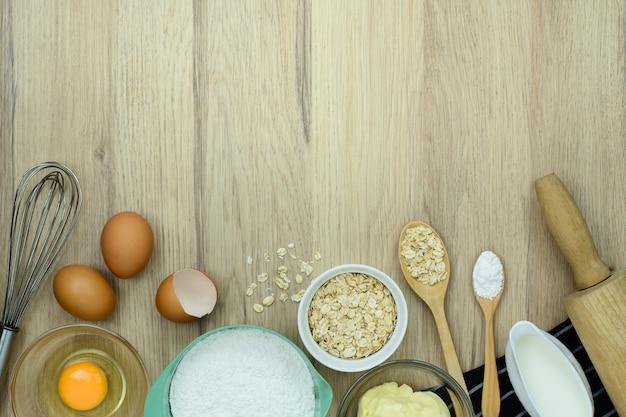 Ferramentas de padaria em madeira Foto Premium