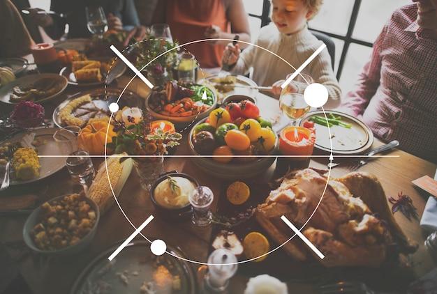 Festa de jantar de família de ícone de ação de graças Foto gratuita