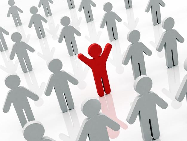 Figura humana conceptual do homem vermelho que está com mãos acima na multidão em pessoas cinzentas Foto Premium