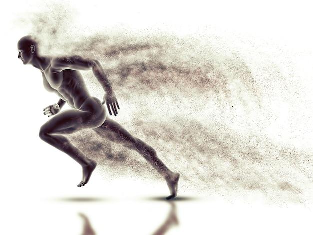 Figura macho 3d com sprint com efeito de velocidade Foto gratuita