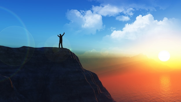 Figura masculina em 3d no alto de um penhasco com os braços erguidos no sucesso Foto gratuita