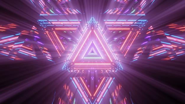 Figura triangular geométrica em luz de laser neon Foto gratuita