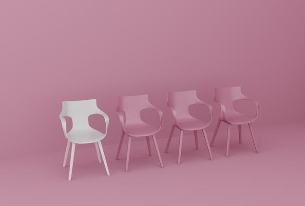 Fila de cadeiras na parede rosa Foto Premium