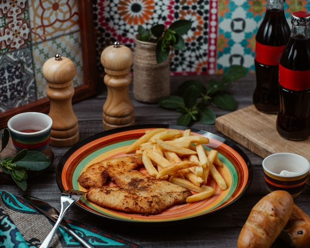 Filé de frango assado fino com ervas e batatas fritas em um prato colorido Foto gratuita