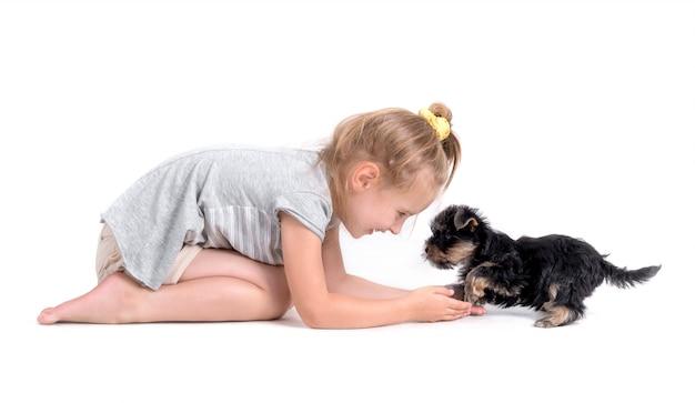 Filhote de cachorro york e menina Foto Premium