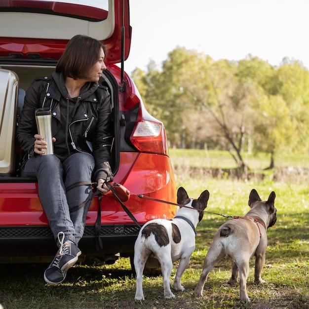 Filhotes de cachorro fofos e mulher sentada no carro Foto gratuita