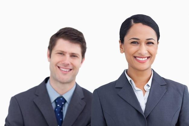 Fim, cima, sorrindo, salesteam Foto Premium