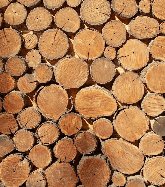 Fim de madeira do fundo da madeira redonda acima. teste padrão de madeira Foto Premium