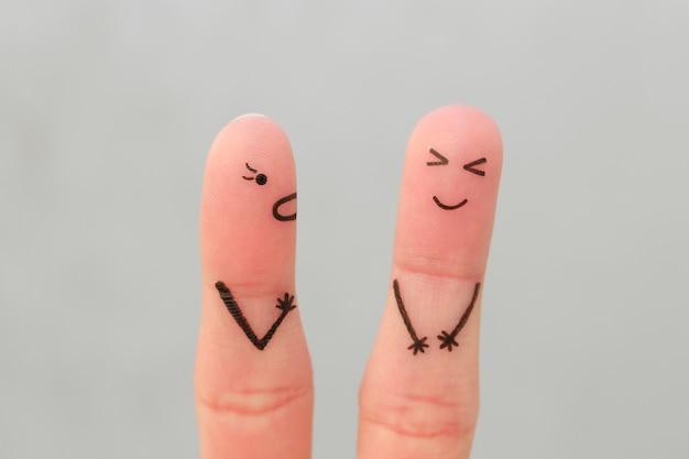 Fingers arte da família durante a briga Foto Premium