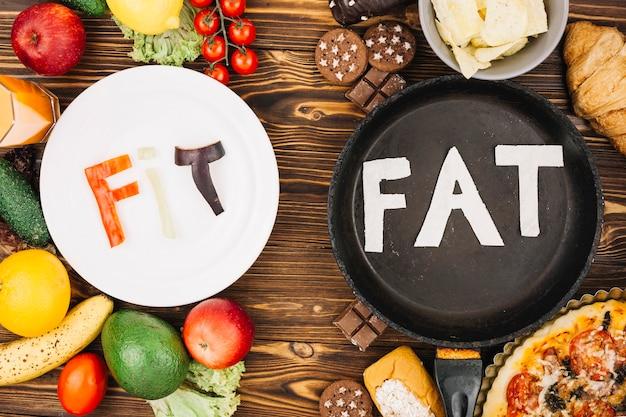 Fit vs gordura Foto gratuita