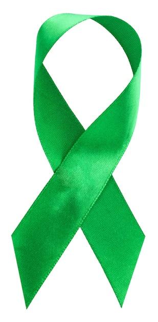 Fita verde. escoliose, saúde mental e outros, símbolo de consciência isolado no branco Foto Premium