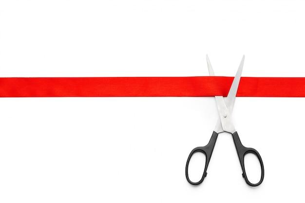 Fita vermelha com tesoura Foto Premium