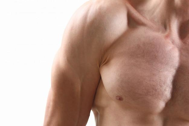 Fitness homem fundo ombro bíceps músculos peitorais Foto Premium
