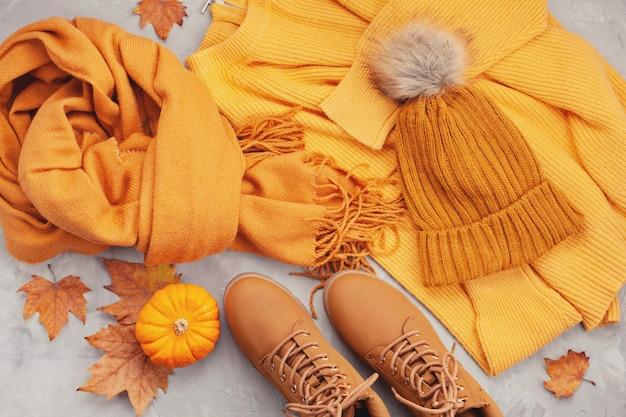 Flat lay com conforto roupa quente para o tempo frio. Foto Premium
