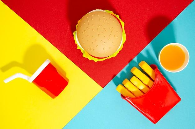 Flat leigos de réplicas de fast food Foto gratuita