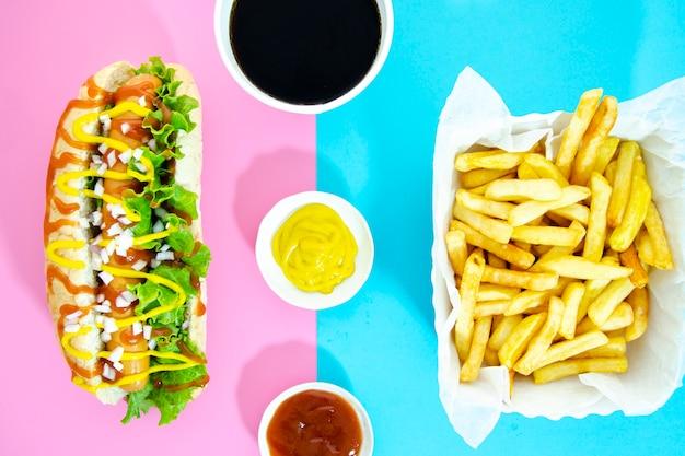 Flat leigos do menu de fast food Foto gratuita