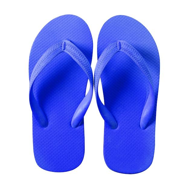Flip flops azul isolado no fundo branco Foto gratuita